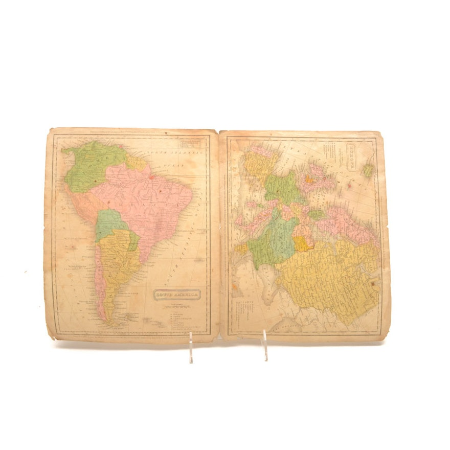 Map Of Europe And South America.1830 Unframed Map Of Europe And South America Ebth