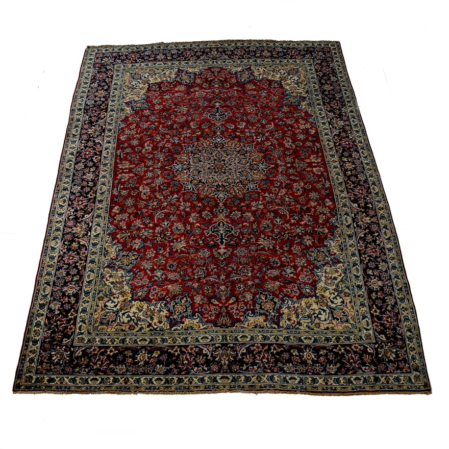 Hand Knotted Persian Wool Area Rug Ebth: Hand-Knotted Persian Isfahan Wool Area Rug