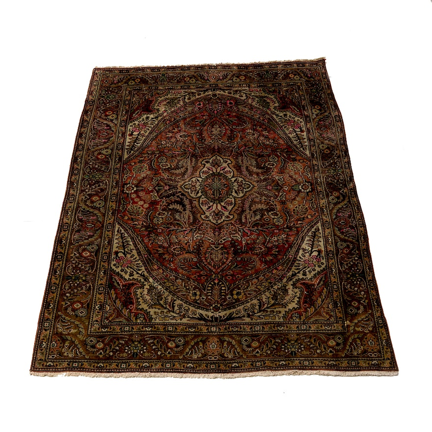 Persian Hand Knotted Kashan Silk And Wool Area Rug Ebth: Hand-Knotted Kashan Wool Area Rug : EBTH