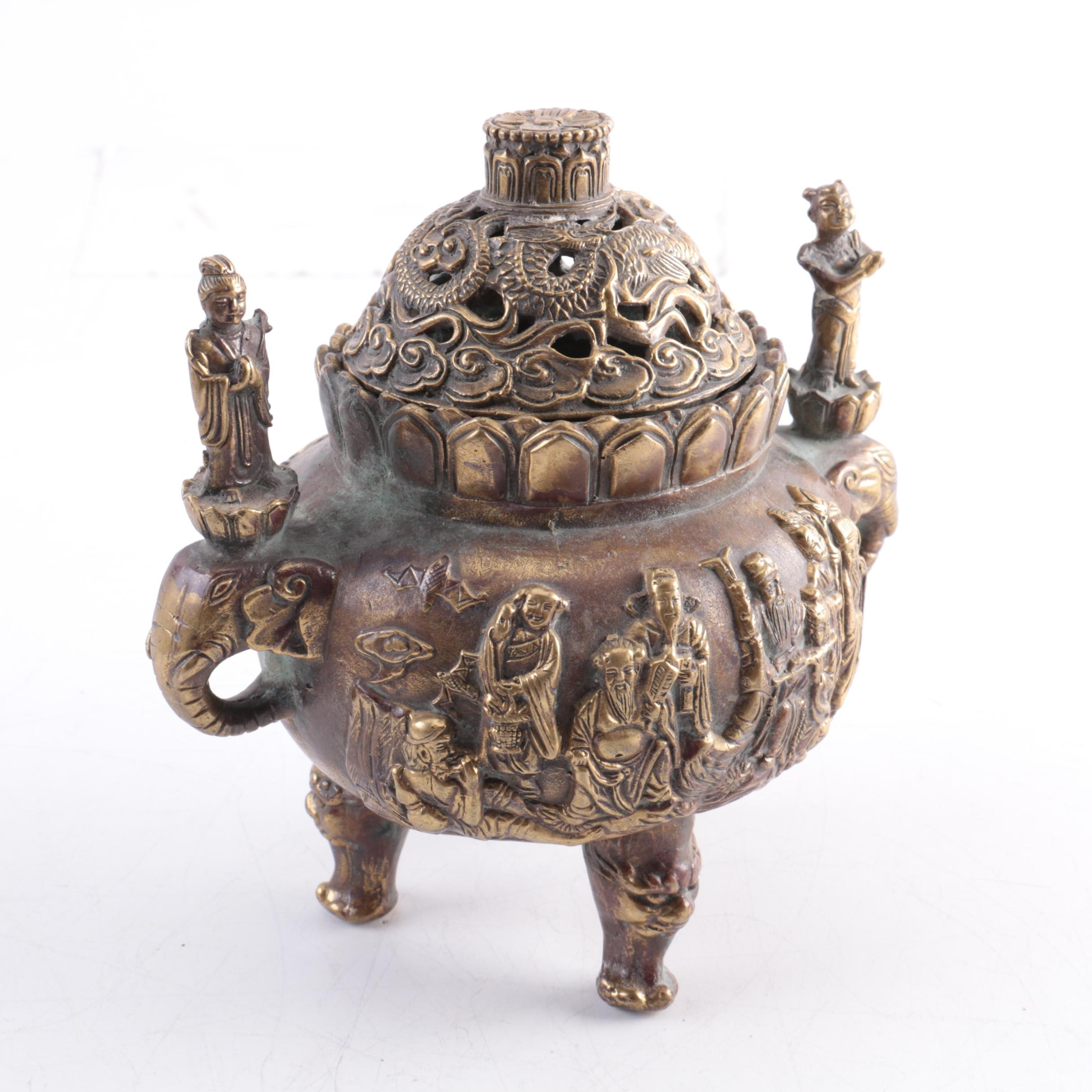 19th Century Chinese Brass Censer with Figures and Elephant Handles