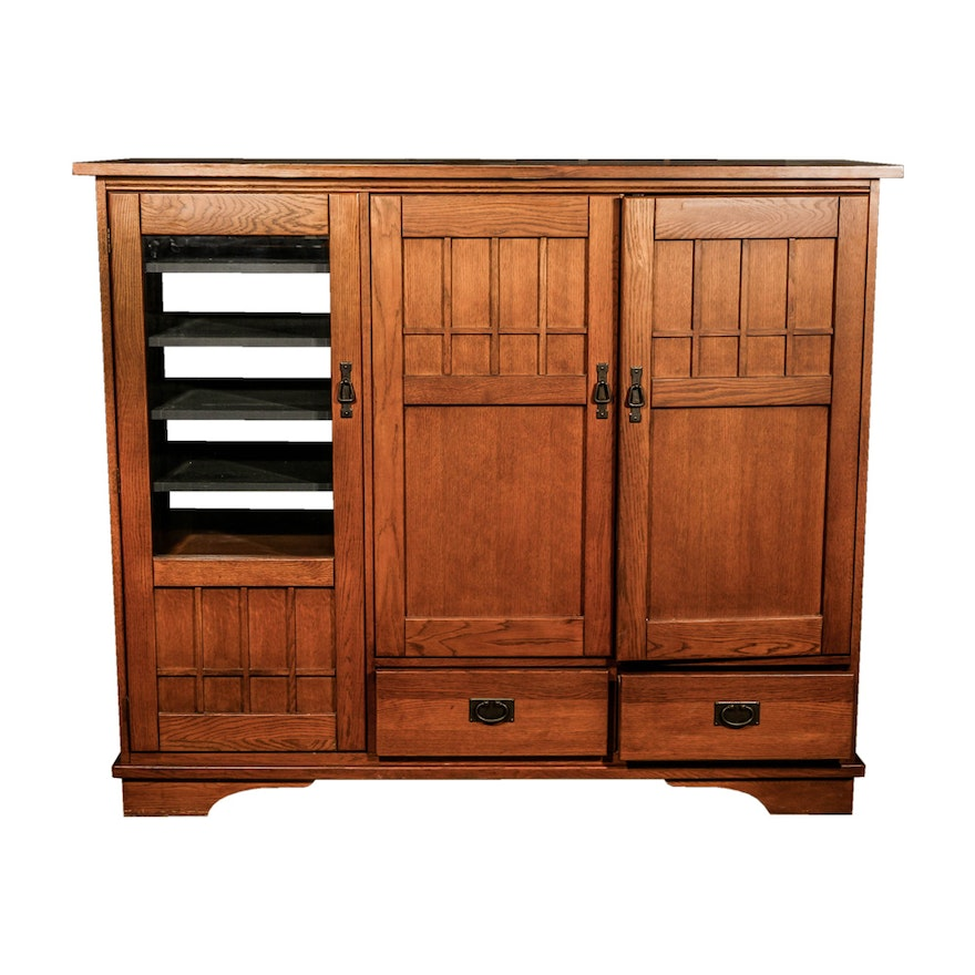 Mission Style Entertainment Center Cabinet By Hooker Furniture Co