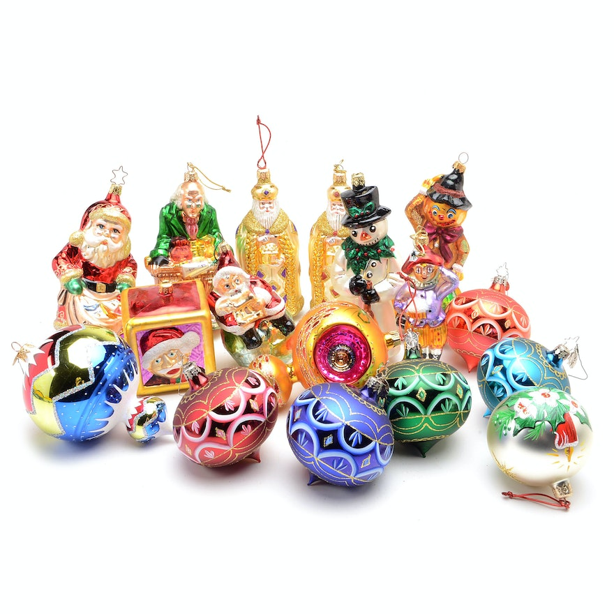 Collection of christopher radko christmas ornaments and