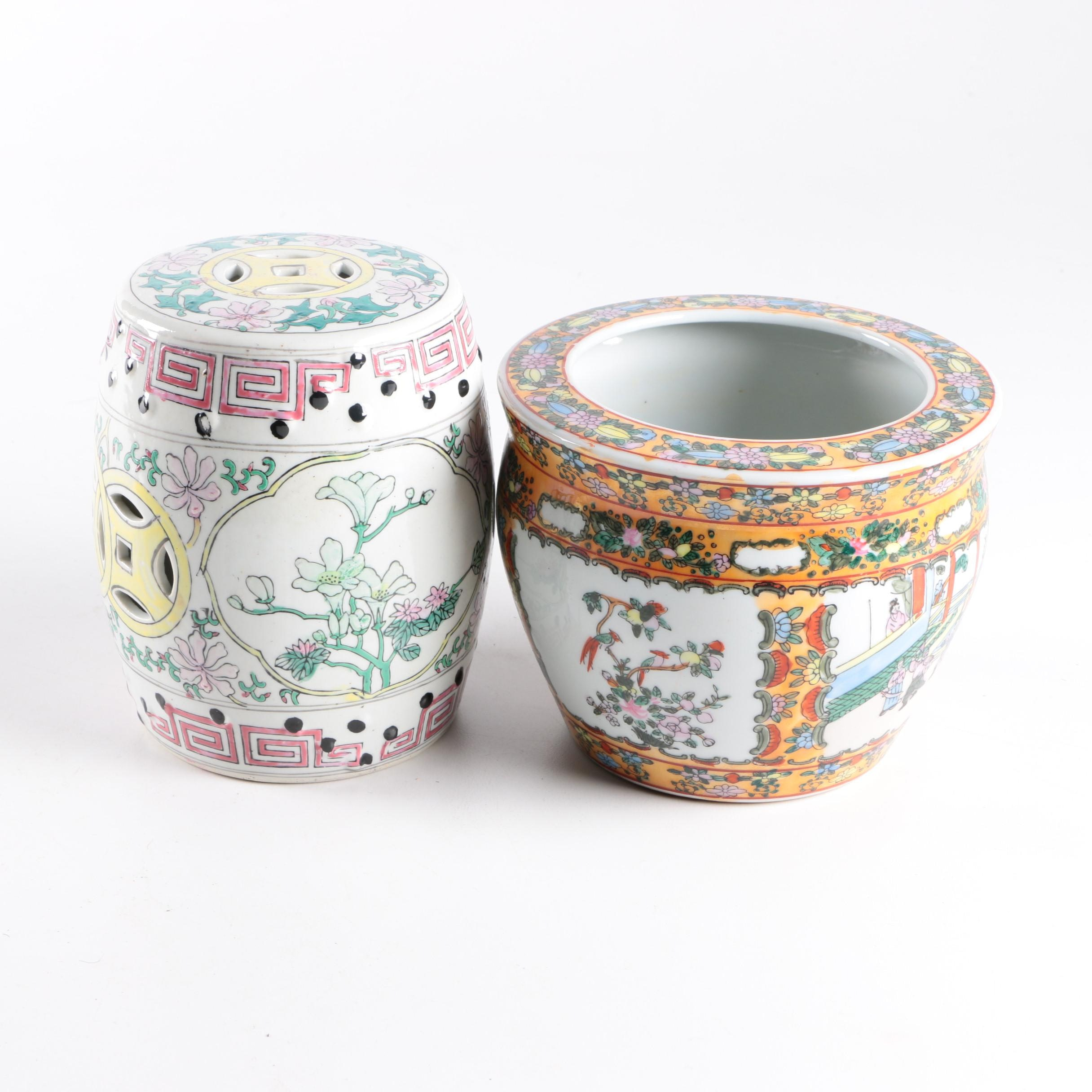 Chinese Ceramic Garden Stool and Planter