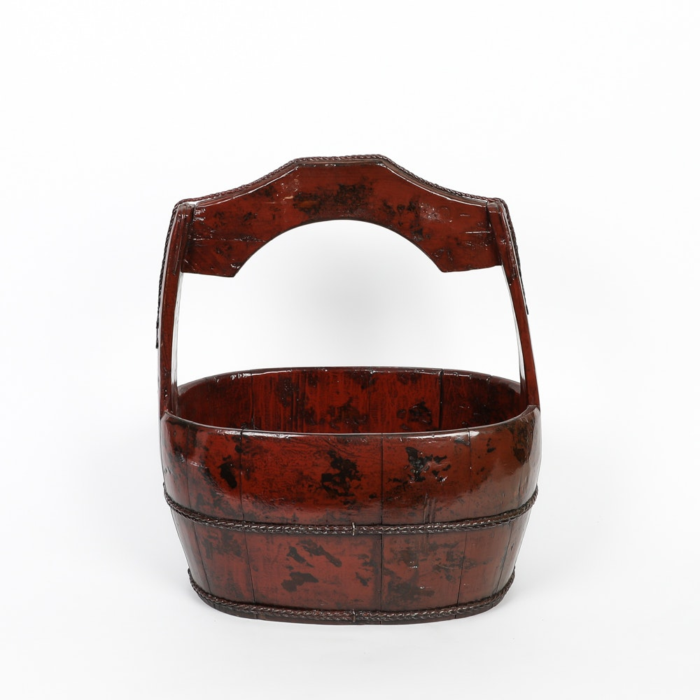 Chinese Lacquered Wood Basket