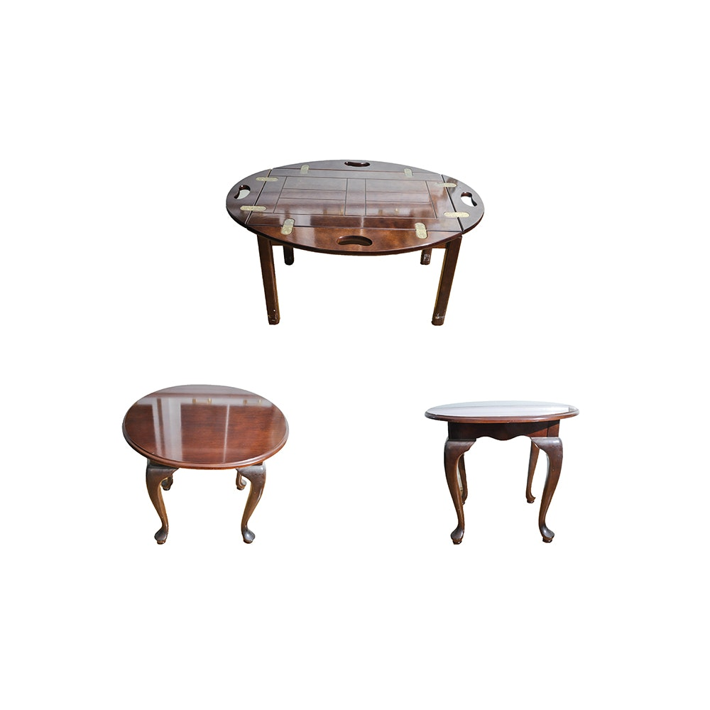 Butleru0027s Tray Table And Two Queen Anne Style Side Tables ...