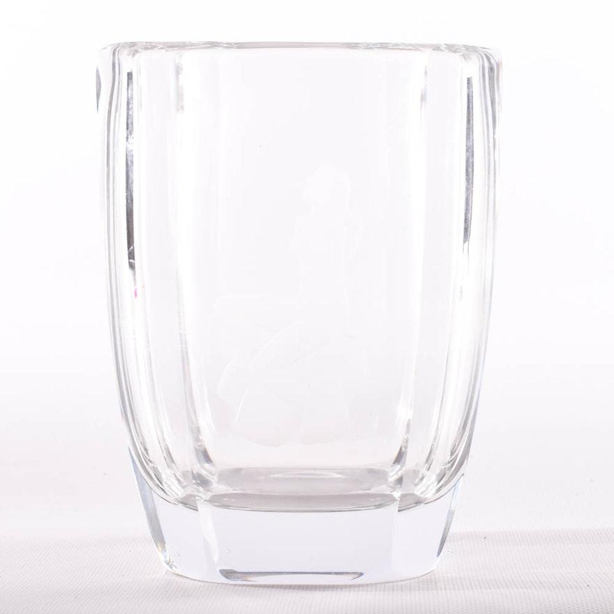 Signed Orrefors Etched Crystal Vase Ebth