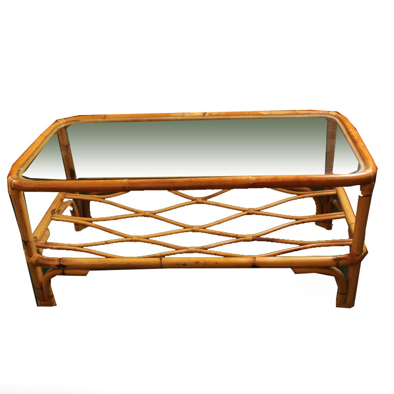 Vintage Glass Top Coffee Table With Rattan Frame Ebth