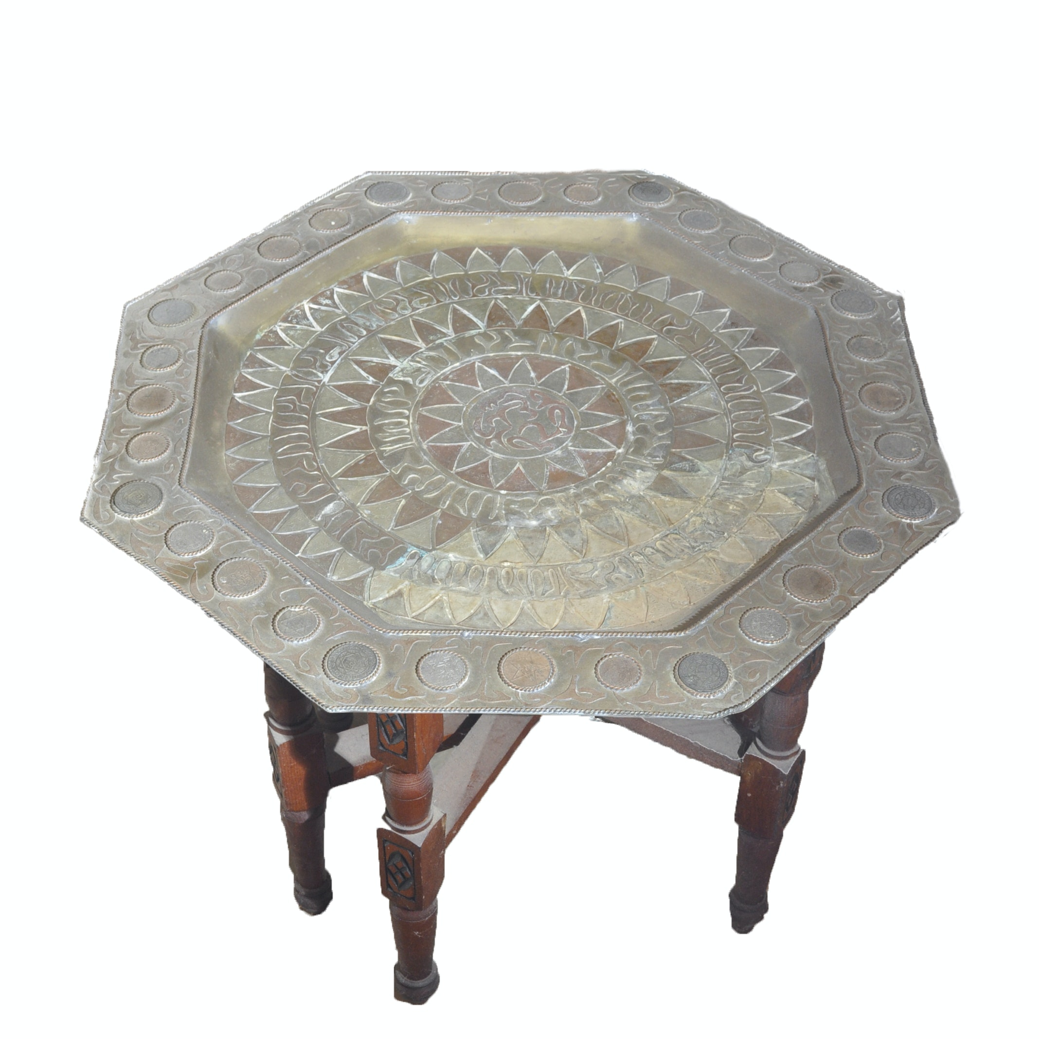 Vintage Moroccan Mixed Metal Tray Table On Folding Carved Base ...