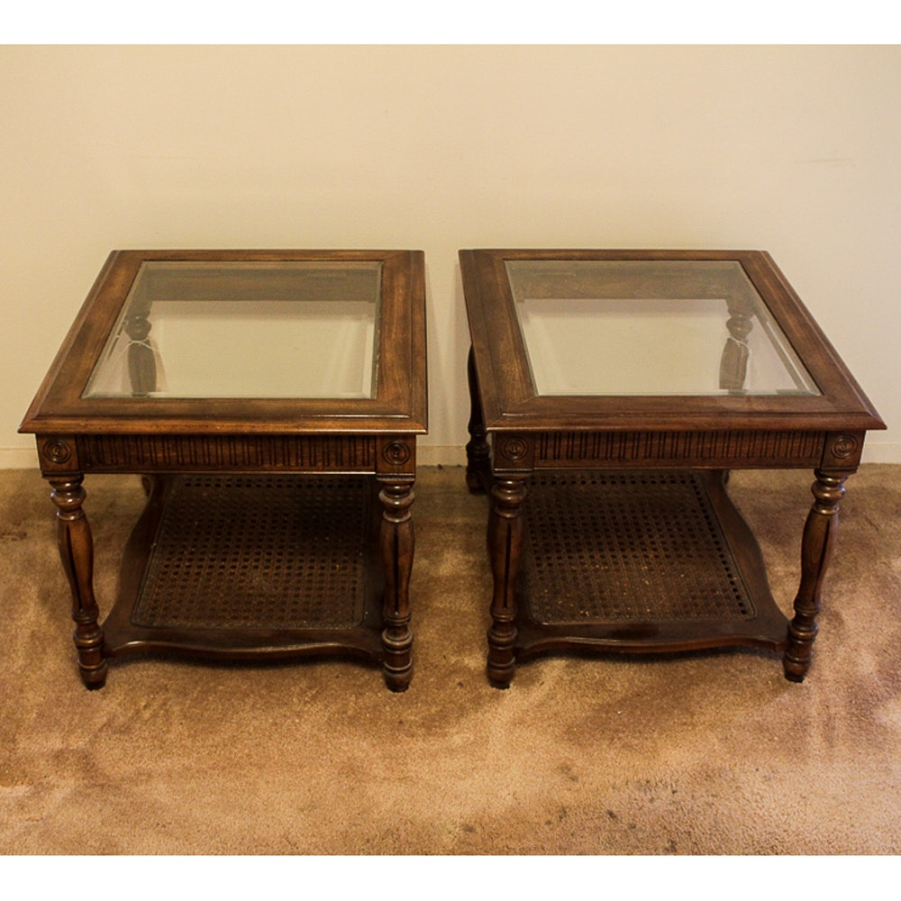 Glass Top End Tables with Cane Shelves