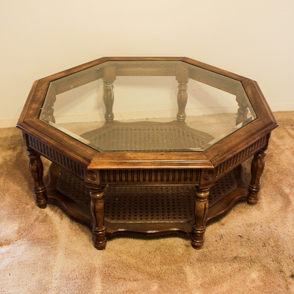 Glass Top Octagonal Coffee Table with Cane Shelf