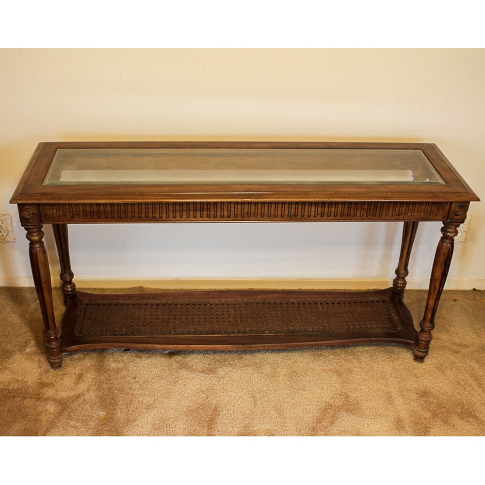Glass Top Console Table with Cane Shelf
