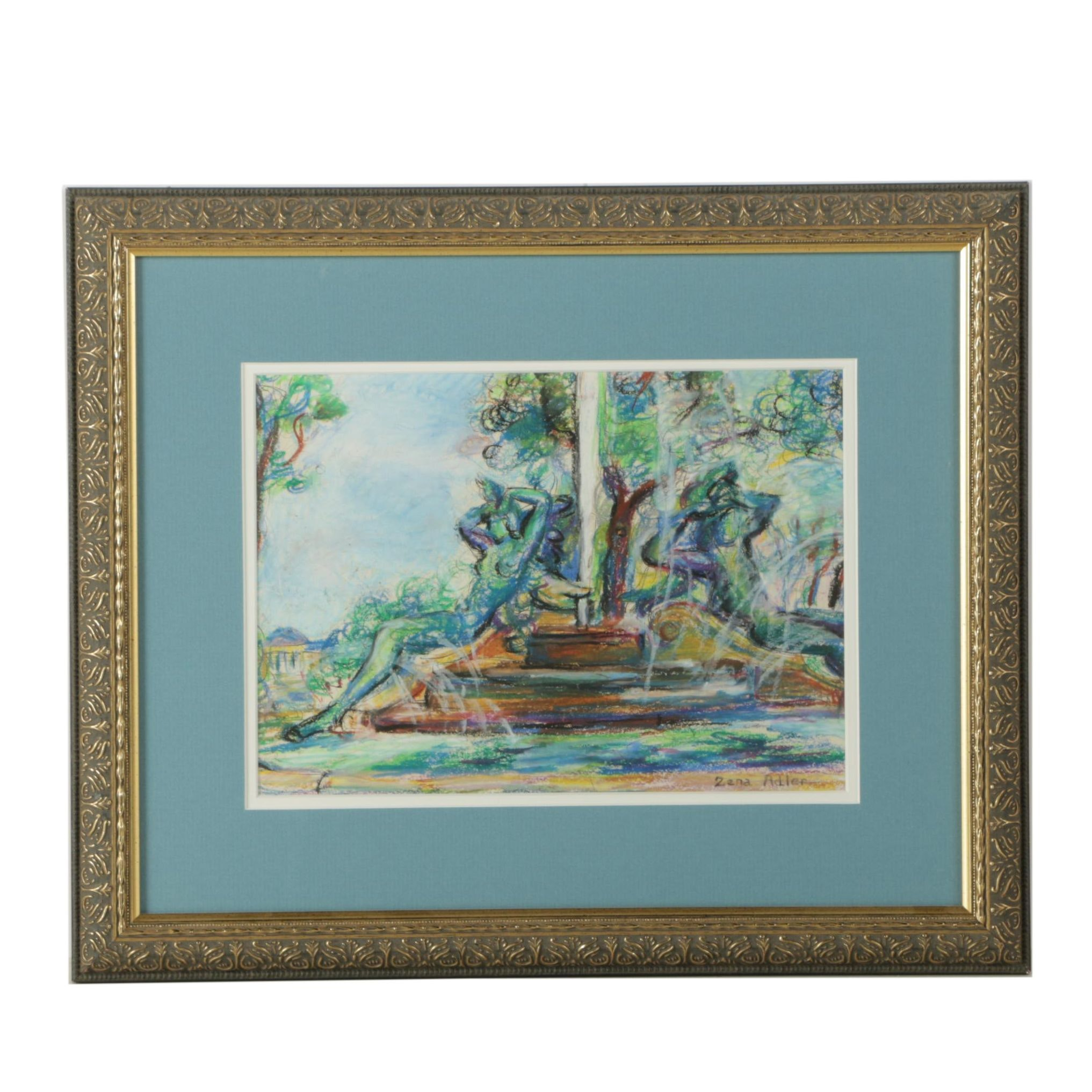 Zena Adler Pastel Drawing on Paper of Fountain