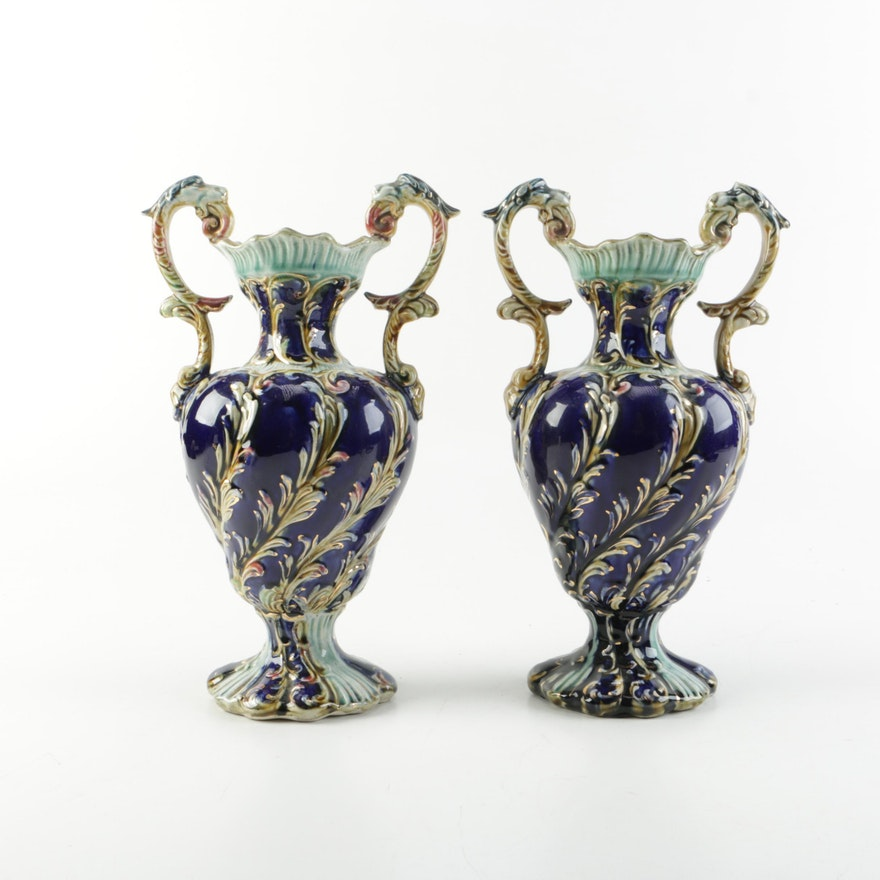 Ornate Blue Ceramic Vases Ebth