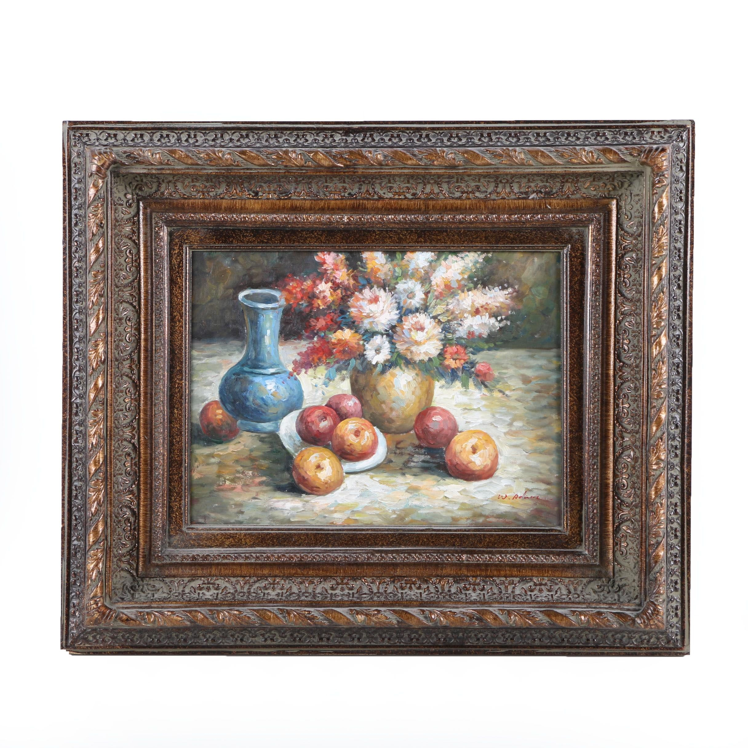 W. Adams Oil Painting on Canvas of Still Life