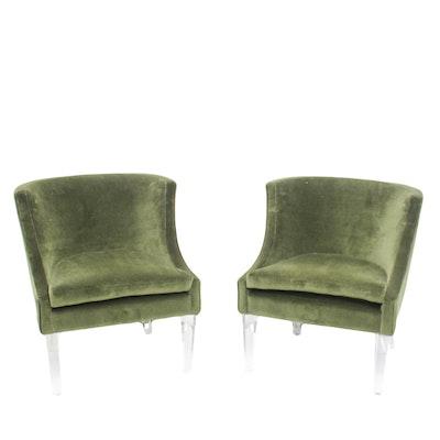 Hollywood Regency Velvet Chairs on Acrylic Legs