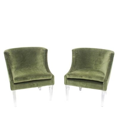 Hollywood Regency Velvet Chairs on Acrylic Legs