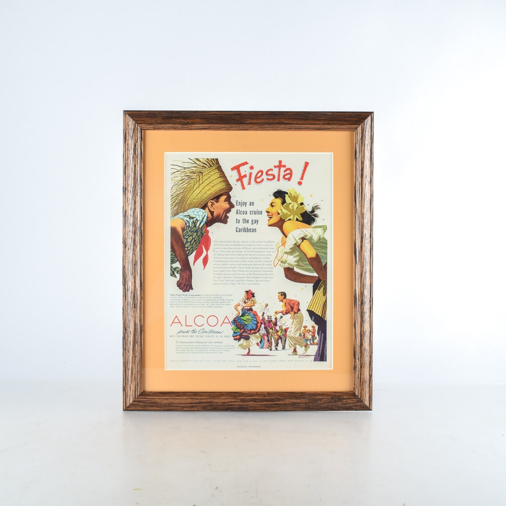 Reproduction Print of 1950s Travel Poster for Alcoa Cruise Line