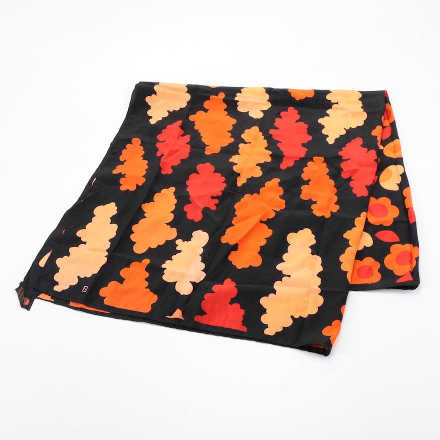 Fendi Cloud and Floral Pattern Silk Scarf
