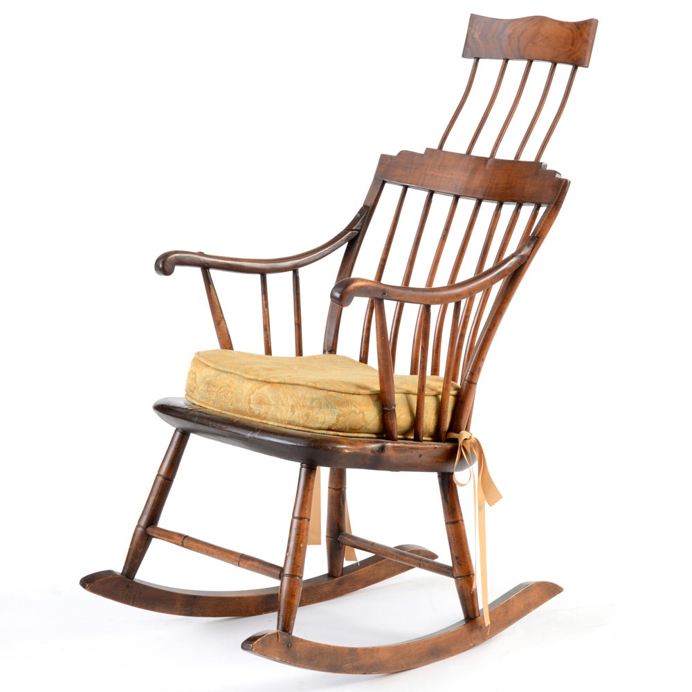 Antique windsor style comb back rocking chair ebth