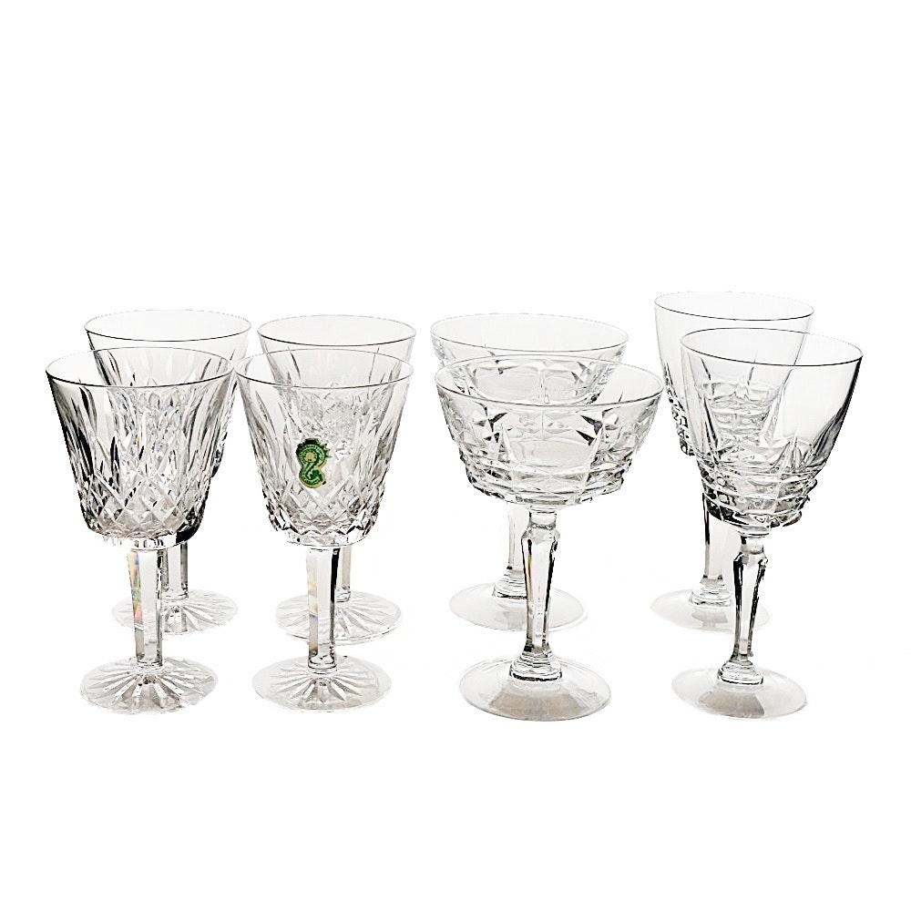 """Waterford Crystal """"Lismore"""" Claret Glasses and Assorted Stemware"""