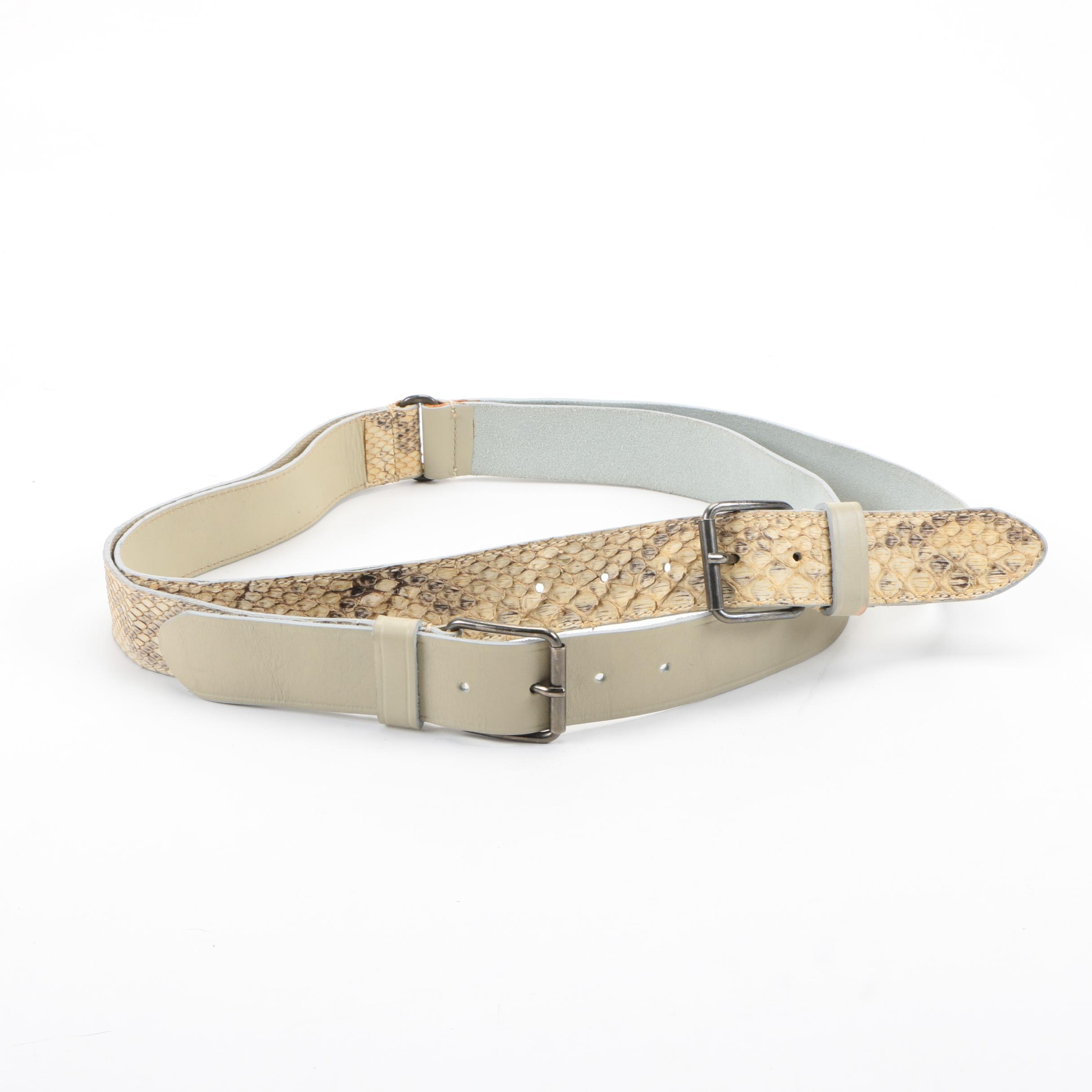 Prada Double Snakeskin and Leather Belt