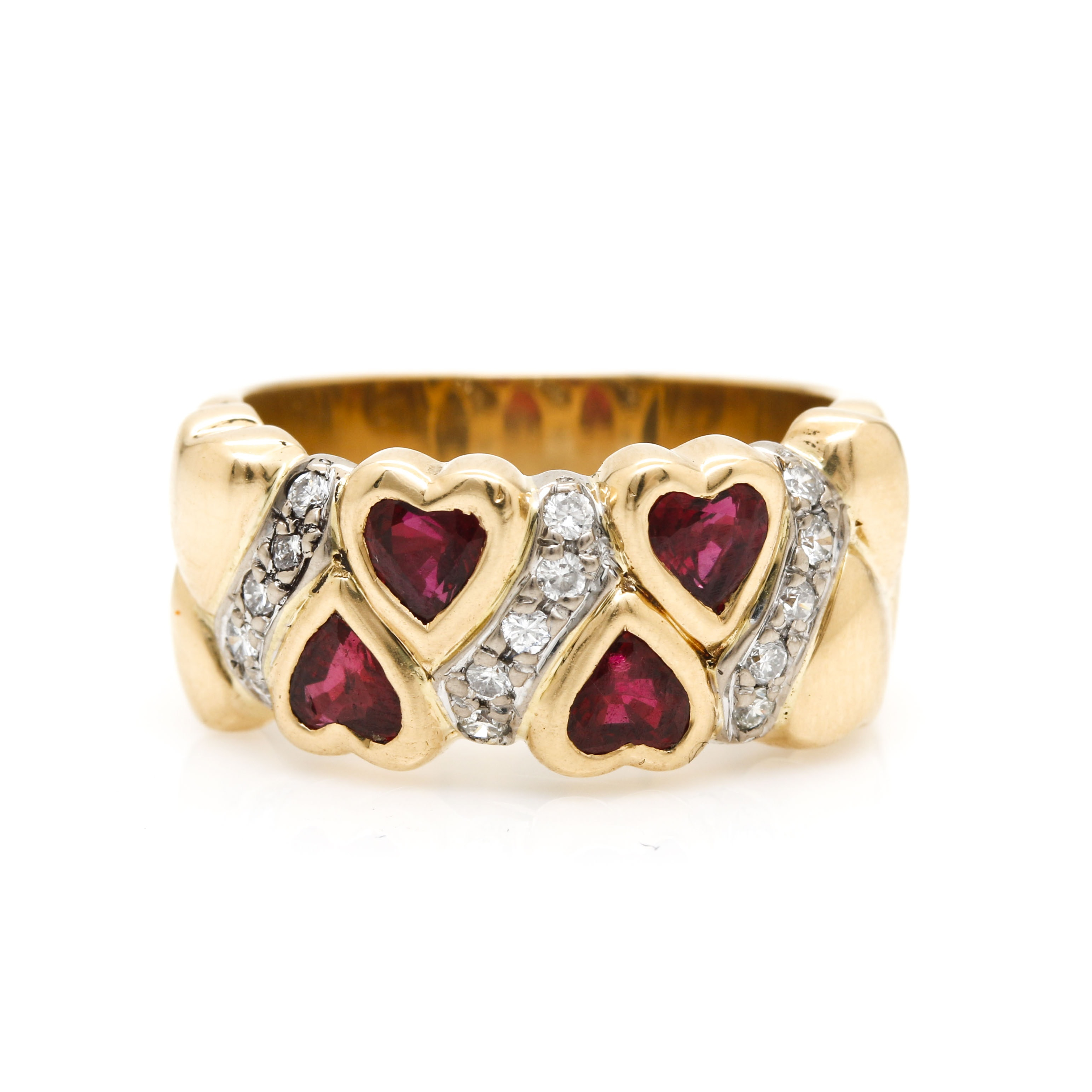 18K Yellow Gold Ruby and Diamond Heart Ring EBTH