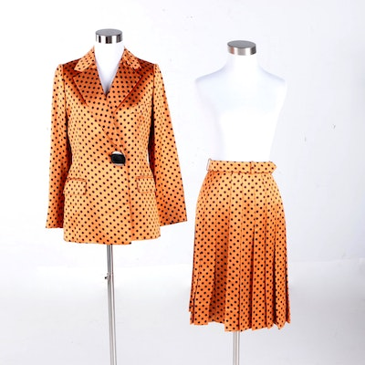 Vintage Cardinali Polka Dot Satin Skirt Suit