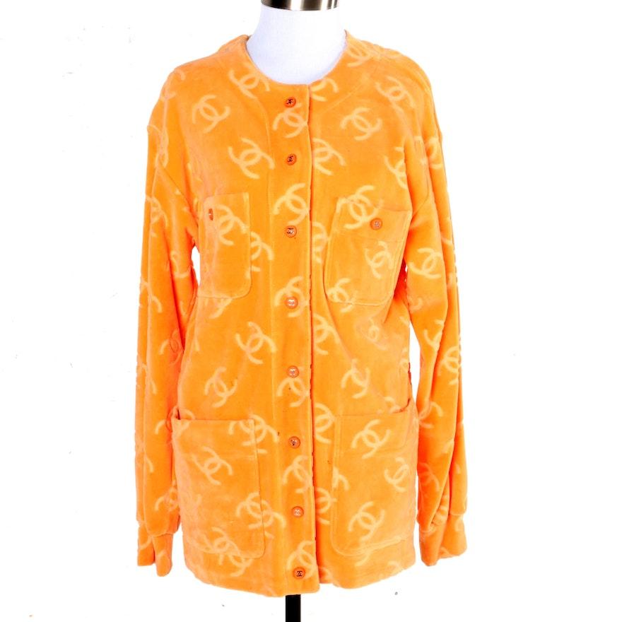 Chanel Orange Velour CC Logo Cardigan