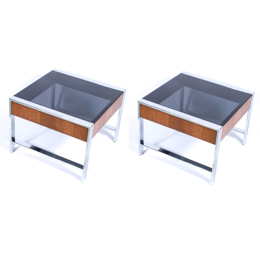 Awe Inspiring Mid Century Modern Chrome Glass And Wood End Tables Download Free Architecture Designs Grimeyleaguecom