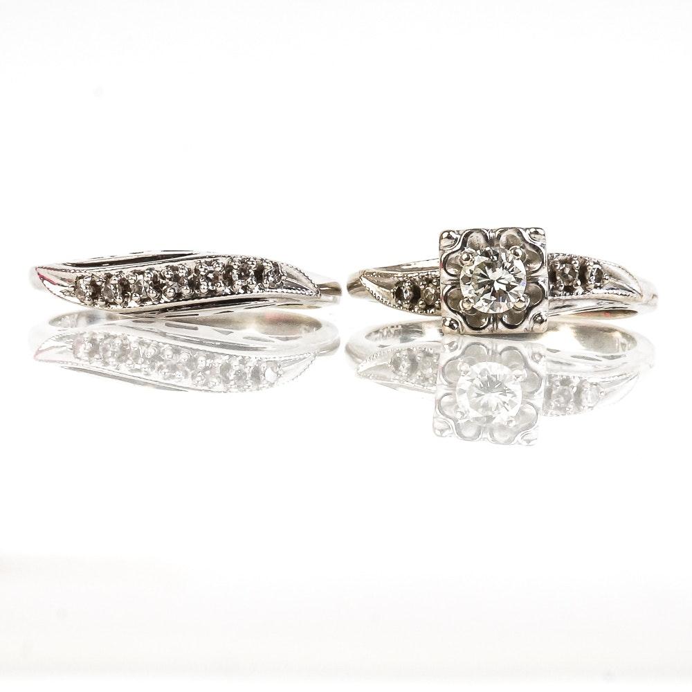 Vintage 14K White Gold and Diamond Contoured Bridal Ring Set
