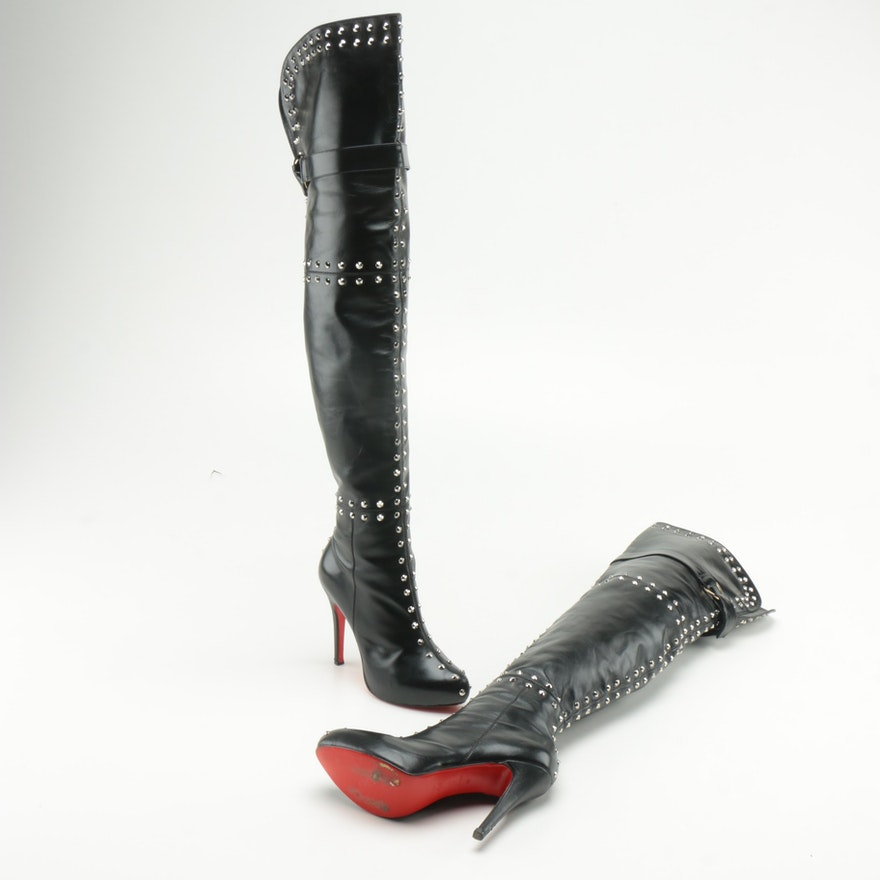 online store 12fdd 1c7be Christian Louboutin Leather Studded Thigh High Boots