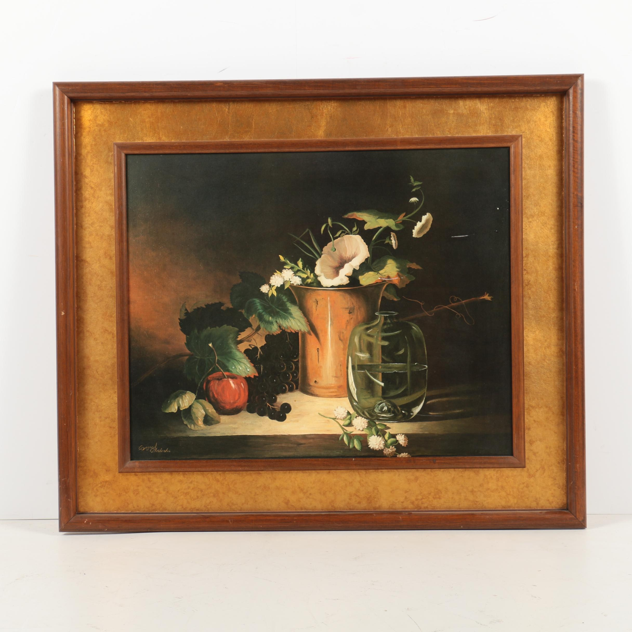 Offset Lithograph Print on Paper of Still Life