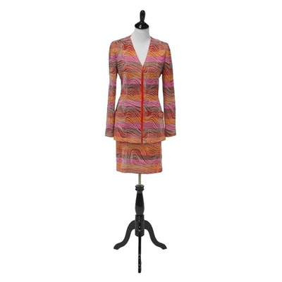 Missoni Italian Made Knit Jacket and Skirt in a Colorful Swirl Pattern