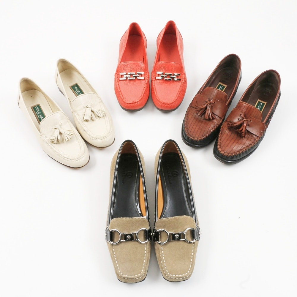 Four Pairs of Women's Leather Loafers