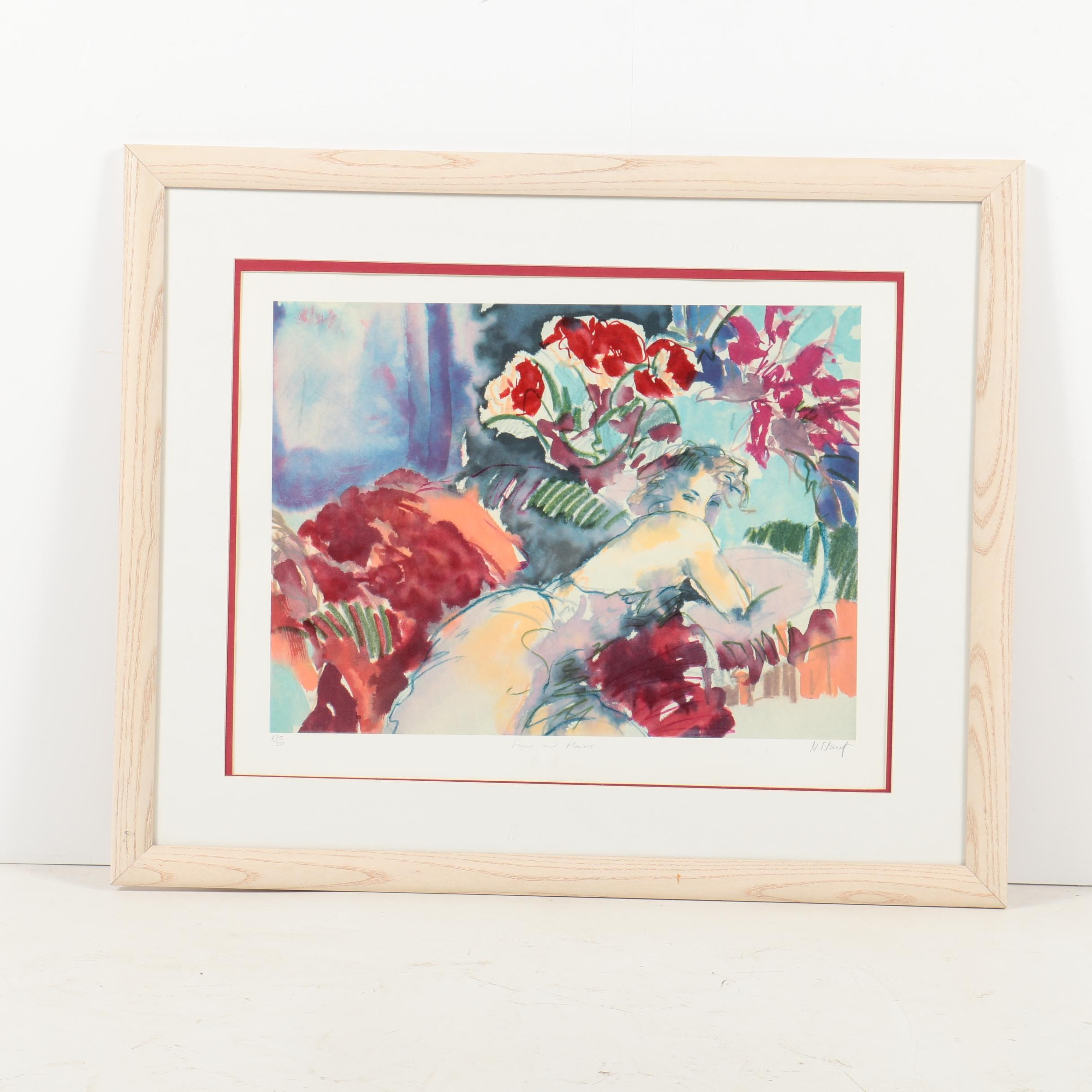 "Signed Limited Edition Lithograph ""Figure and Flowers"""