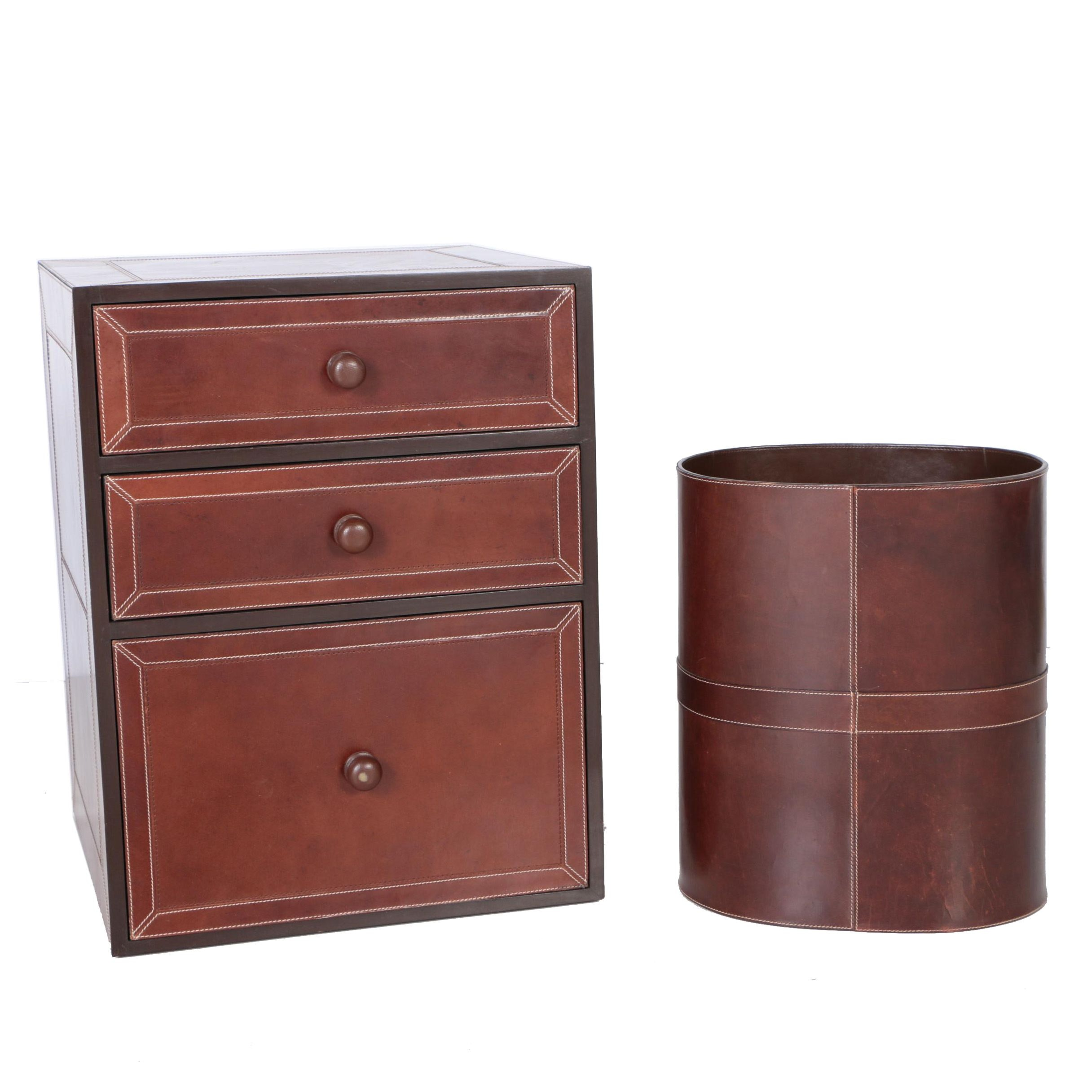 Leather Upholstered Cabinet And Wastebasket By Stetson ...