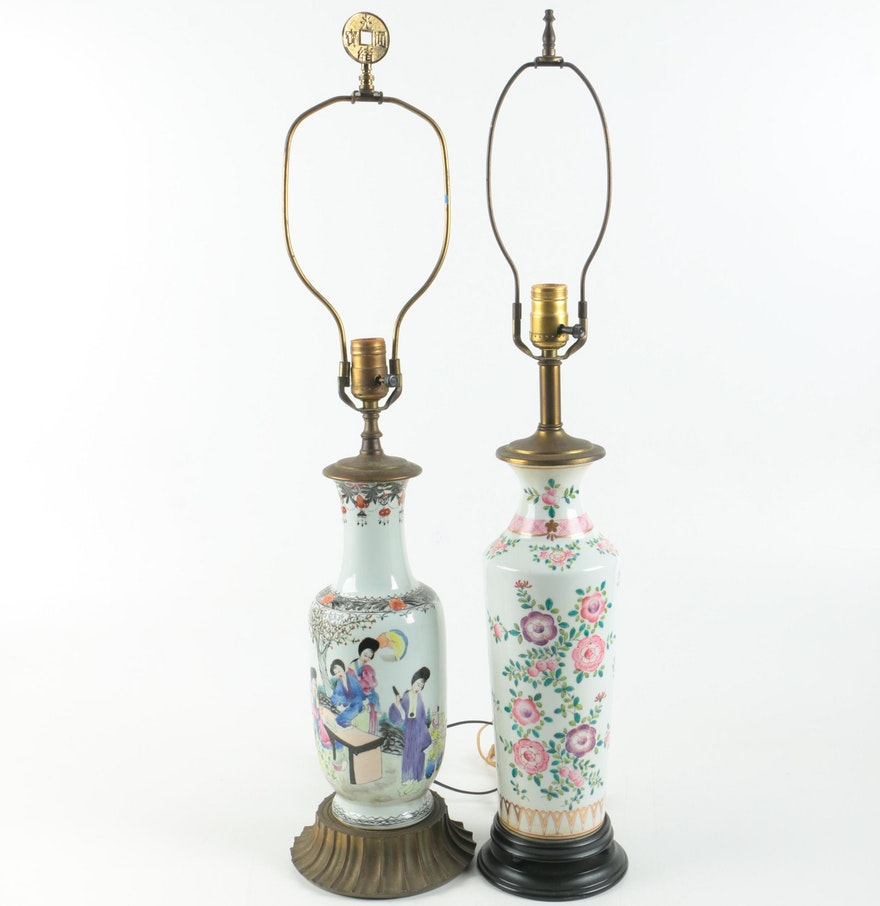 Hand painted chinese ceramic table lamps ebth hand painted chinese ceramic table lamps geotapseo Images