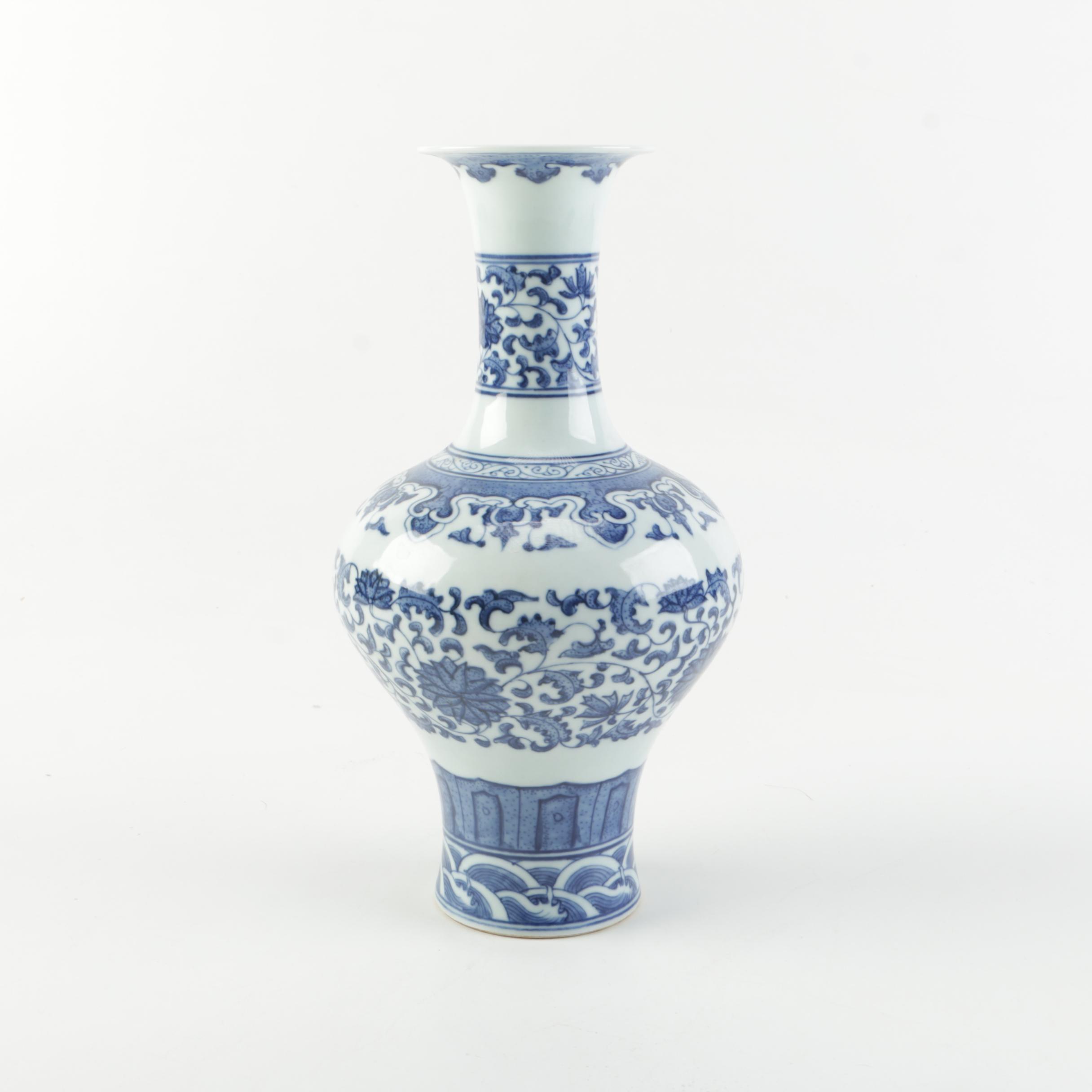 chinese blue on porcelain white vase
