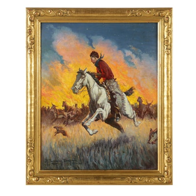 4f6a11556a3 R. Farrington Elwell Oil on Academy Board Western Illustration
