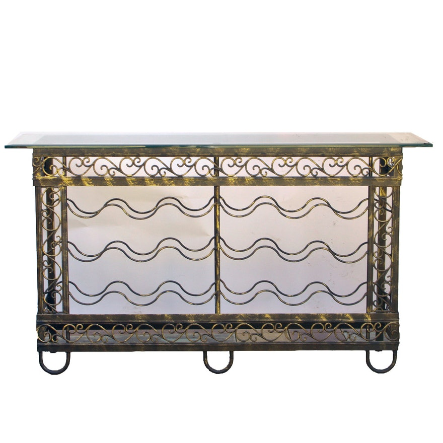 Console Table With Glass Top And Wine Rack Ebth