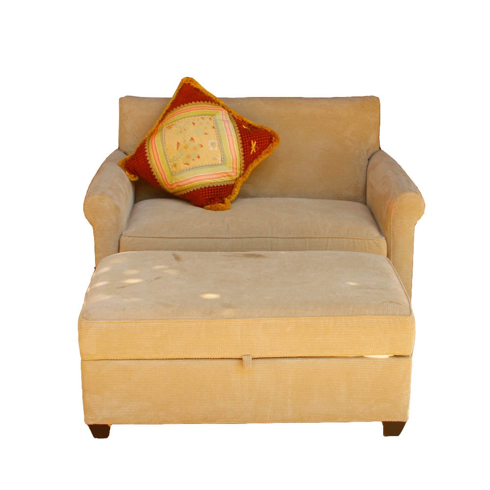 Upholstered Loveseat with Storage Ottoman