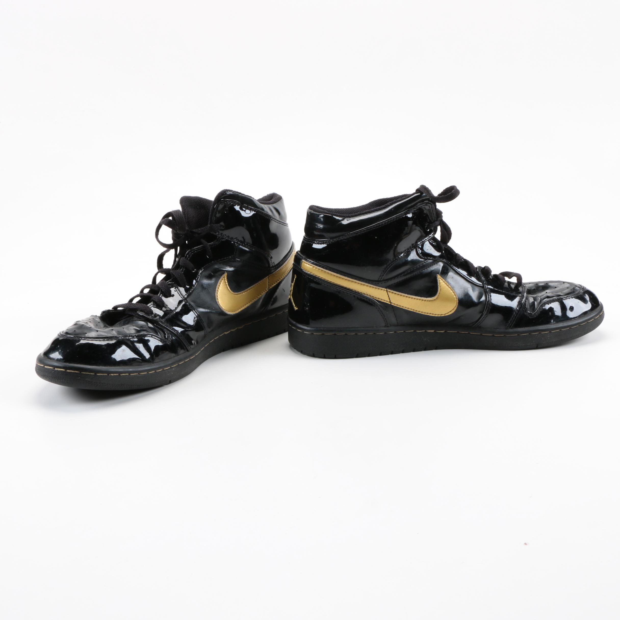 47ce3f65f816 ... spain air jordan xiii mens air jordan 1 retro black and gold tone  sneakers 85169 15629