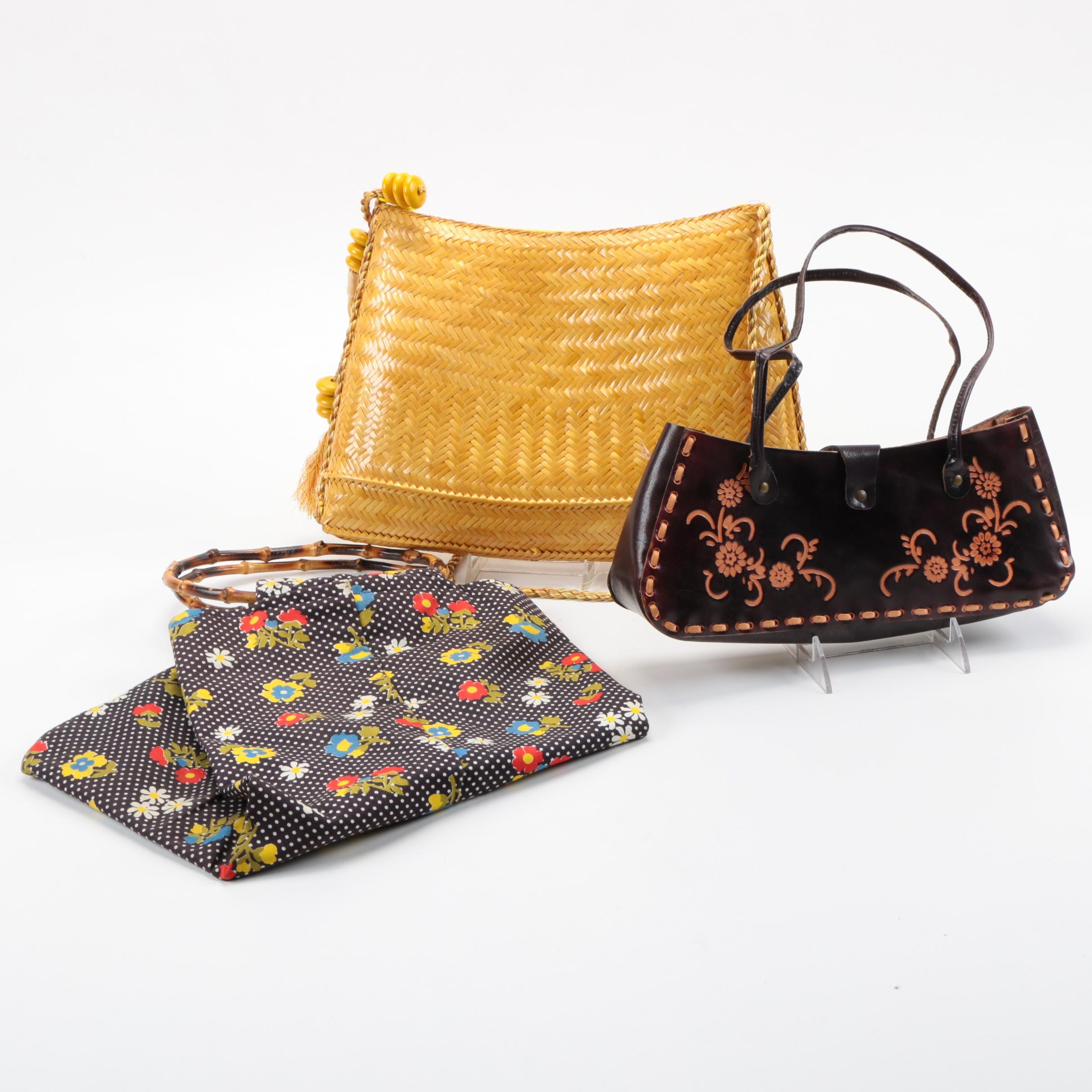 1970s Vintage Handbags Including Tooled Leather