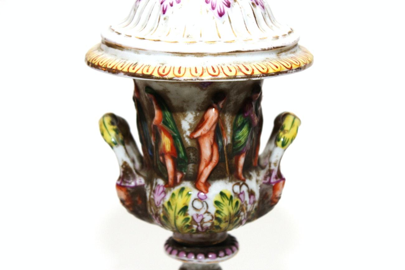 Antique Capodimonte Porcelain Urn Ebth