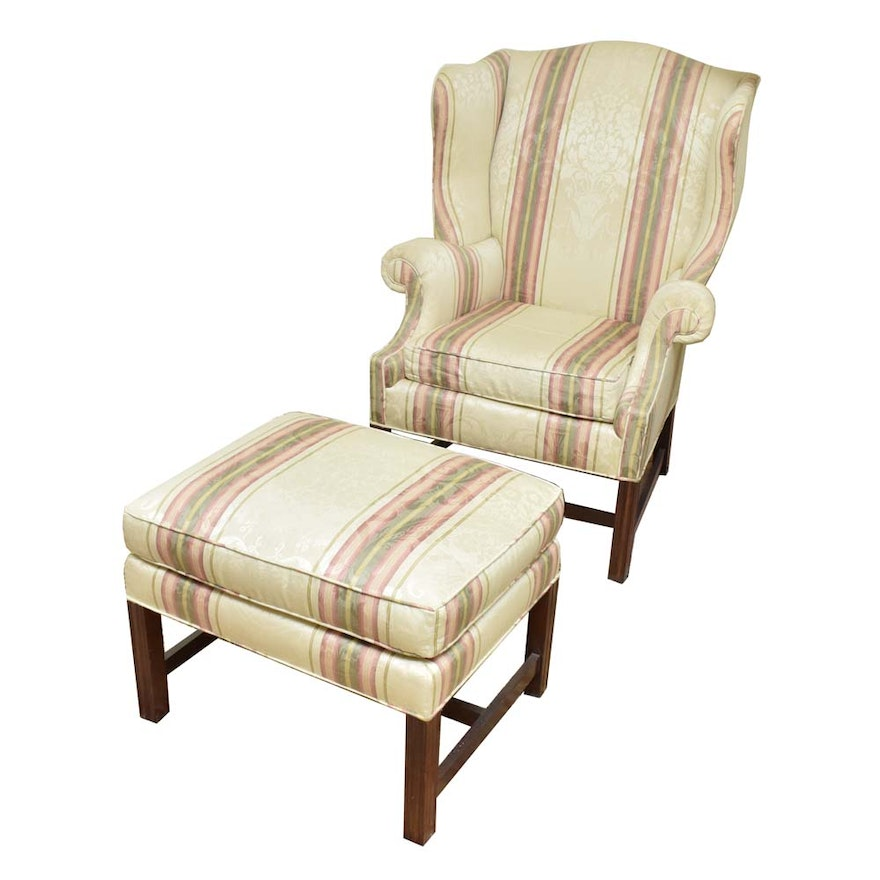 Admirable Baker Furniture Wingback Chair And Ottoman Ibusinesslaw Wood Chair Design Ideas Ibusinesslaworg