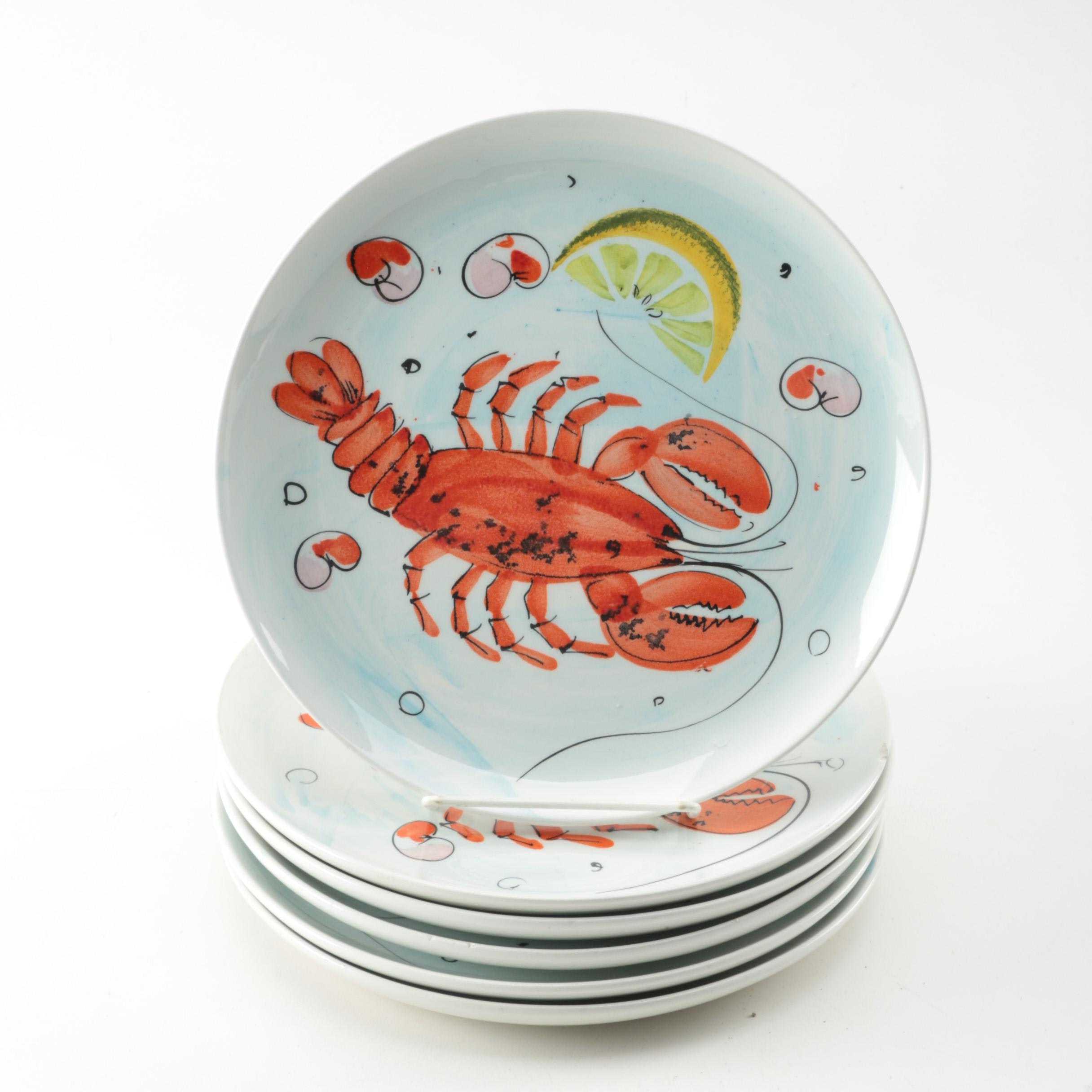 Six Italian Porcelain Hand-Painted Plates