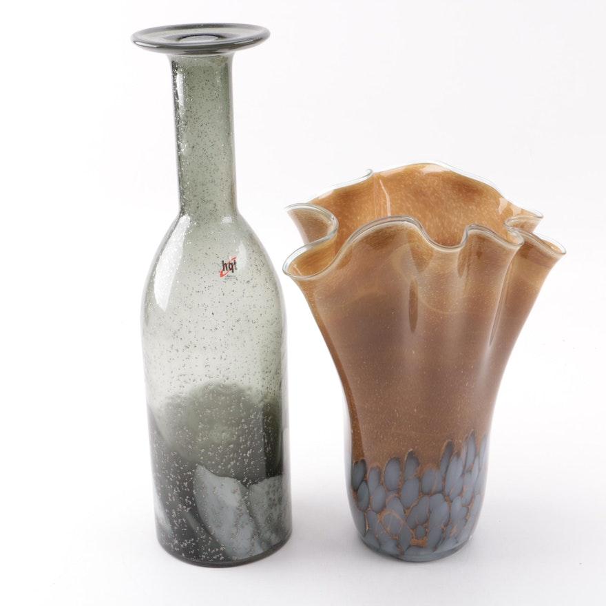 Pair Of Art Glass Vases Ebth