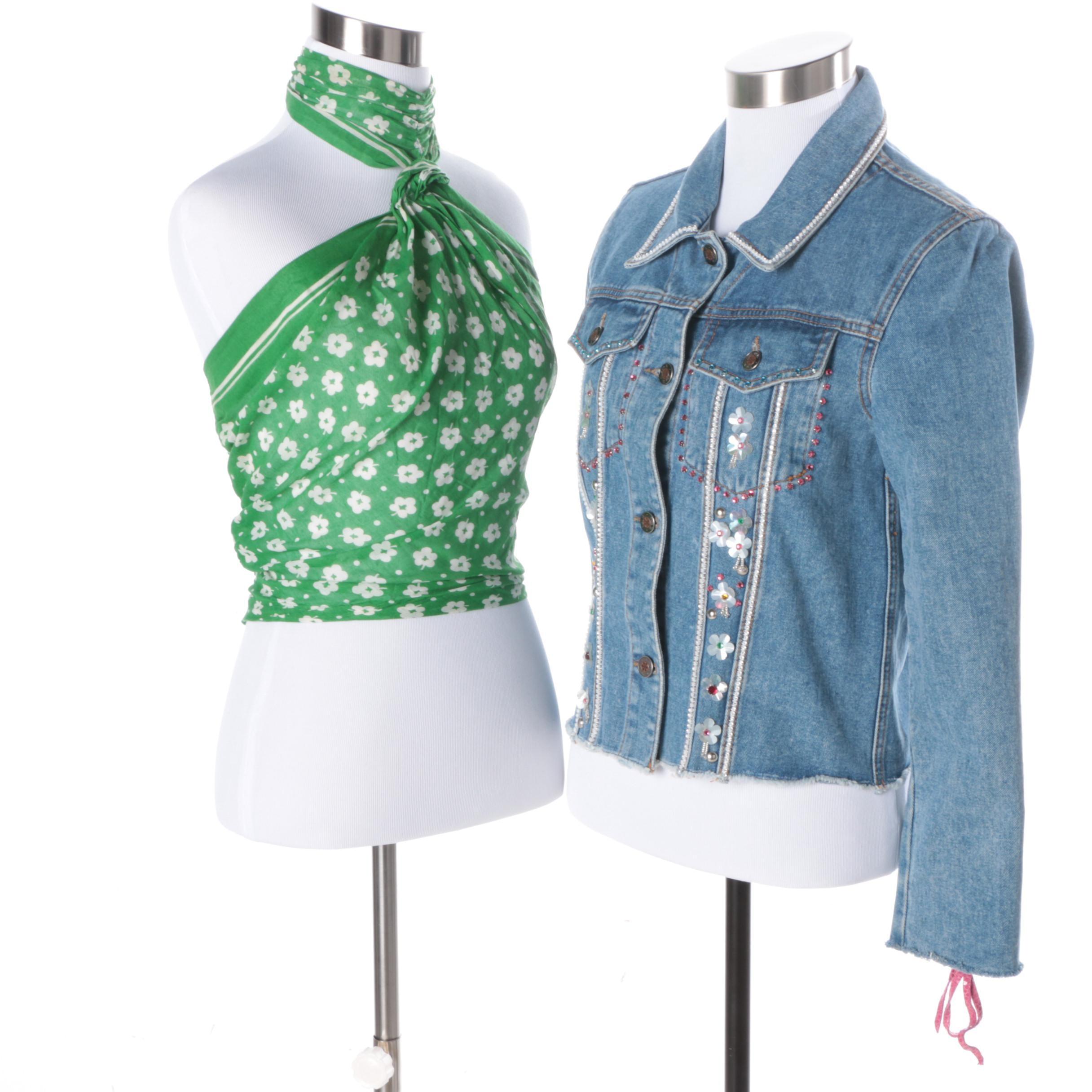 Embellished Denim Jacket and Cardinali Sample Halter Top