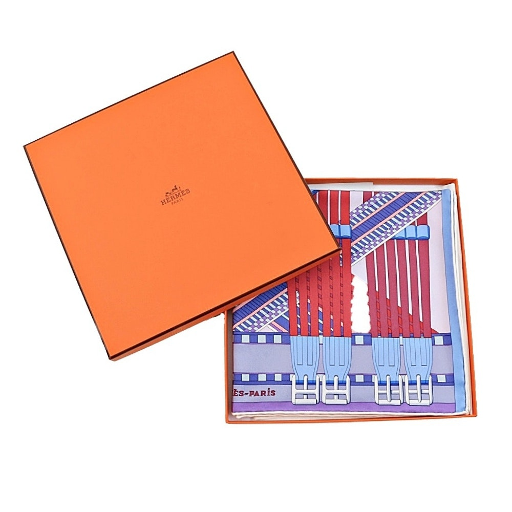 """Hermes """"Sangles en Zigzag"""" Silk Hand Rolled 36"""" Scarf in Lilac and Framboise"""