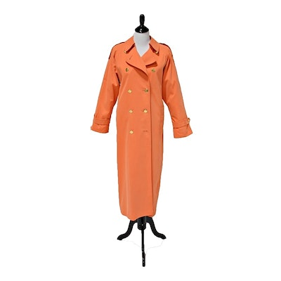Burberrys of London Micro Fiber Double-Breasted Trench Coat in Cantaloupe Orange